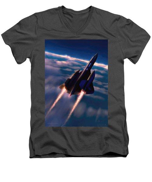 Men's V-Neck T-Shirt featuring the painting Dark Angel by Dave Luebbert