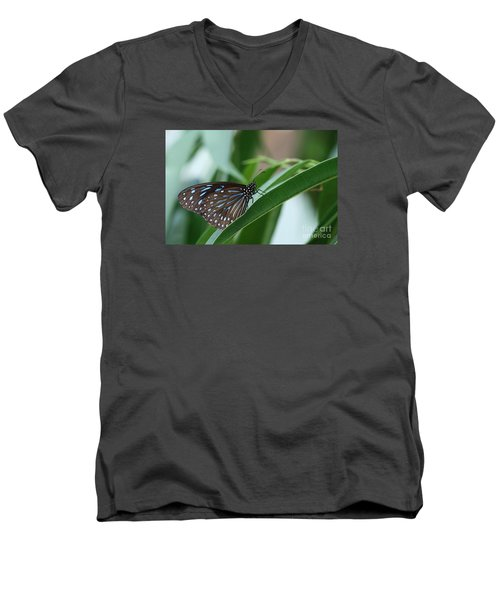 Dark Blue Tiger Butterfly #2 Men's V-Neck T-Shirt