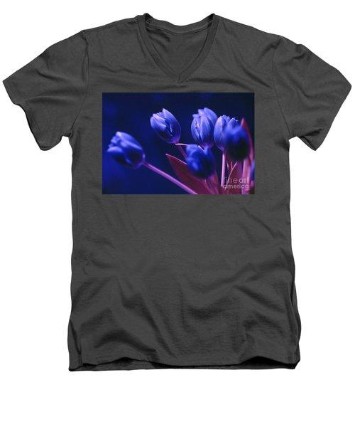 Dark Blue Tulips Men's V-Neck T-Shirt