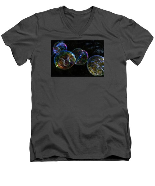 Men's V-Neck T-Shirt featuring the photograph Dark Bubbles With Babies by Nareeta Martin