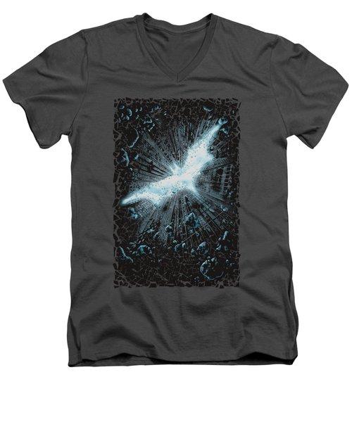 Dark Knight Rises - Crumble Poster Men's V-Neck T-Shirt