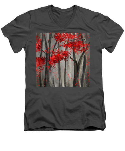 Dark Passion- Red And Gray Art Men's V-Neck T-Shirt