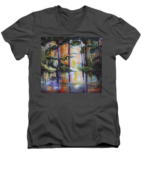 Dark Woods Men's V-Neck T-Shirt by Nadine Dennis