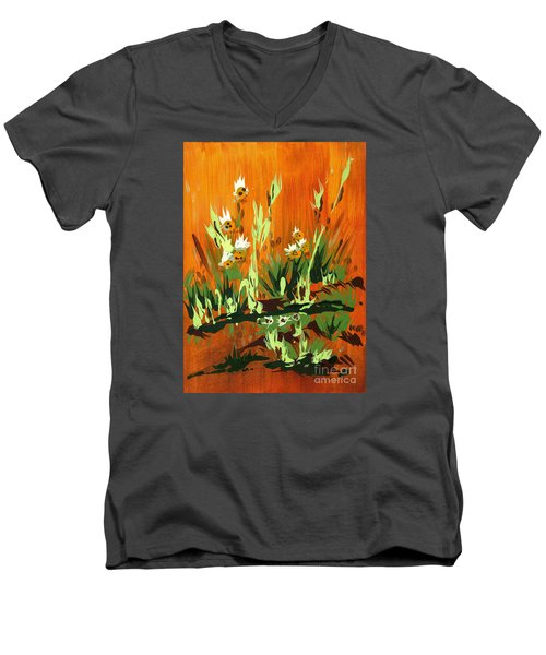 Men's V-Neck T-Shirt featuring the painting Darlinettas by Holly Carmichael