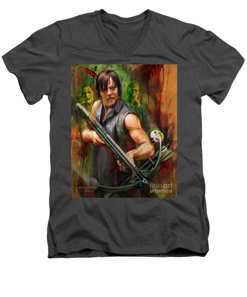 Daryl Dixon Walker Killer Men's V-Neck T-Shirt by Rob Corsetti
