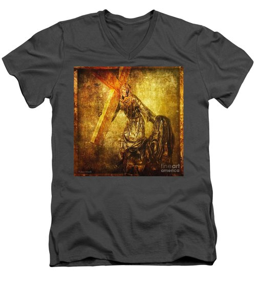 Daughters Of Jerusalem Via Dolorosa 8 Men's V-Neck T-Shirt by Lianne Schneider