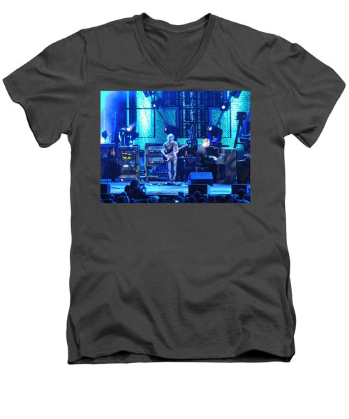 Men's V-Neck T-Shirt featuring the photograph Dave And Tim Playing Out Of My Hands by Aaron Martens