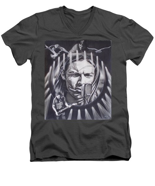 David Gilmour Of Pink Floyd - Echoes Men's V-Neck T-Shirt