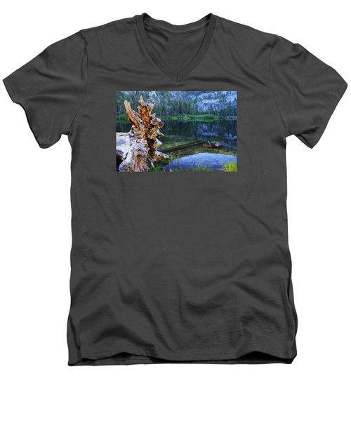Men's V-Neck T-Shirt featuring the photograph Dawn Arrives At Eagle Lake by Sean Sarsfield