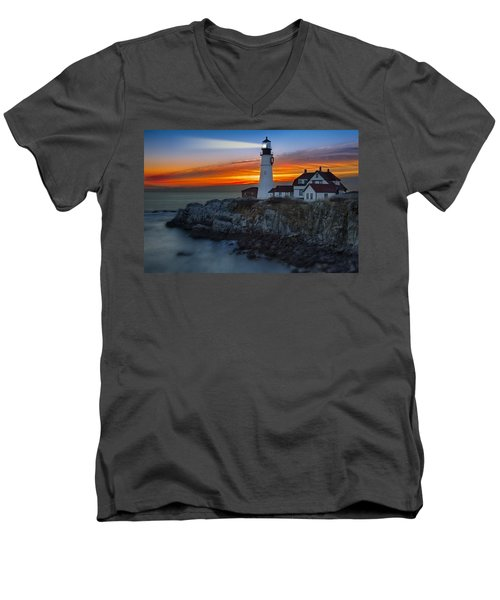 Dawn At Portalnd Head Light Men's V-Neck T-Shirt by Susan Candelario