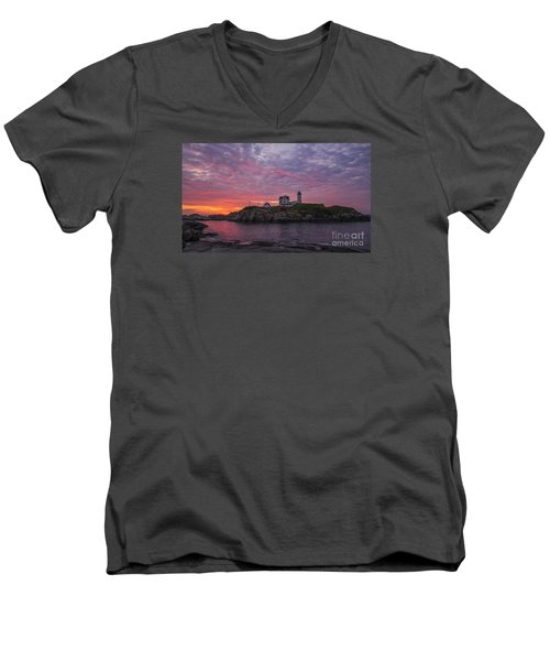 Dawn At The Nubble Men's V-Neck T-Shirt by Steven Ralser