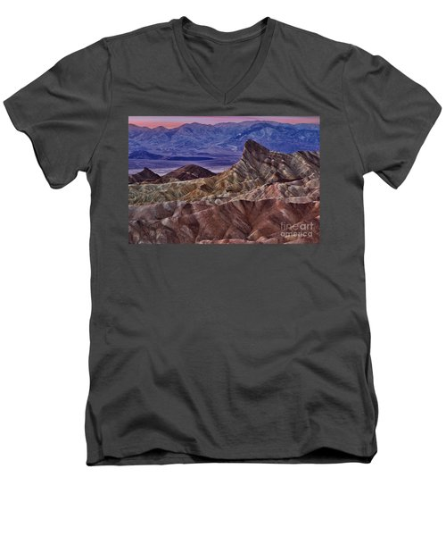 Men's V-Neck T-Shirt featuring the photograph Dawn At Zabriskie Point by Jerry Fornarotto