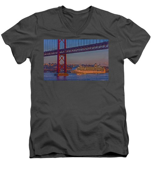 Men's V-Neck T-Shirt featuring the photograph Dawn On The Harbor by Hanny Heim