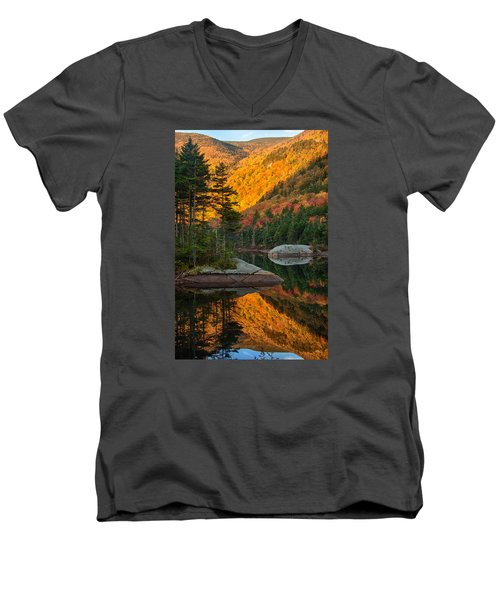Men's V-Neck T-Shirt featuring the photograph Dawns Foliage Reflection by Jeff Folger