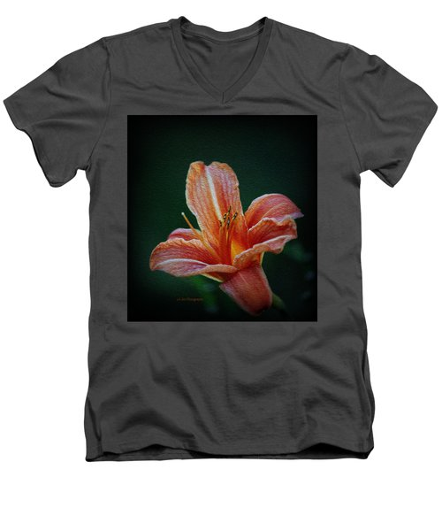 Day Lily Rapture Men's V-Neck T-Shirt by Jeanette C Landstrom