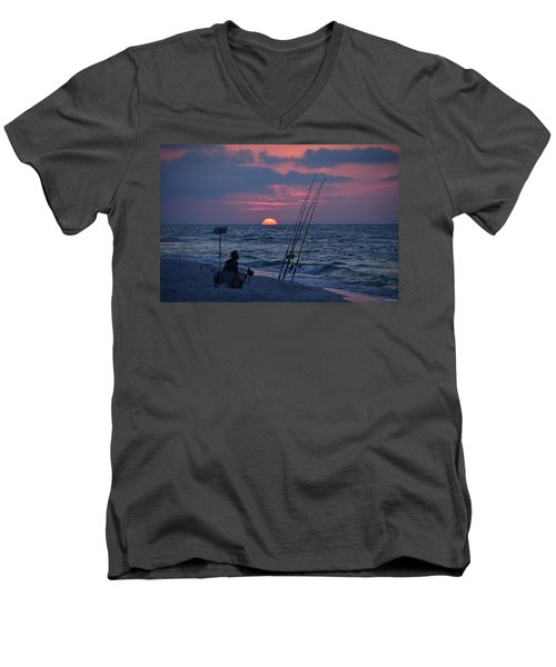 Men's V-Neck T-Shirt featuring the photograph Daybreak On Navarre Beach With Deng The Fisherman by Jeff at JSJ Photography