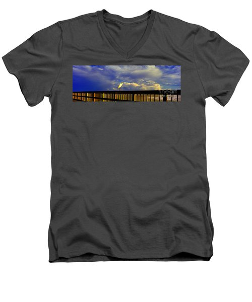 Daytona Beach Rail Bird Sun Glow Pier  Men's V-Neck T-Shirt