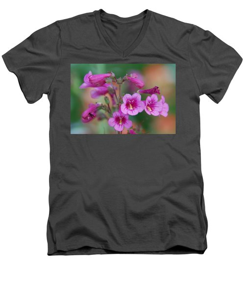 Men's V-Neck T-Shirt featuring the photograph Pink Flowers by Tam Ryan