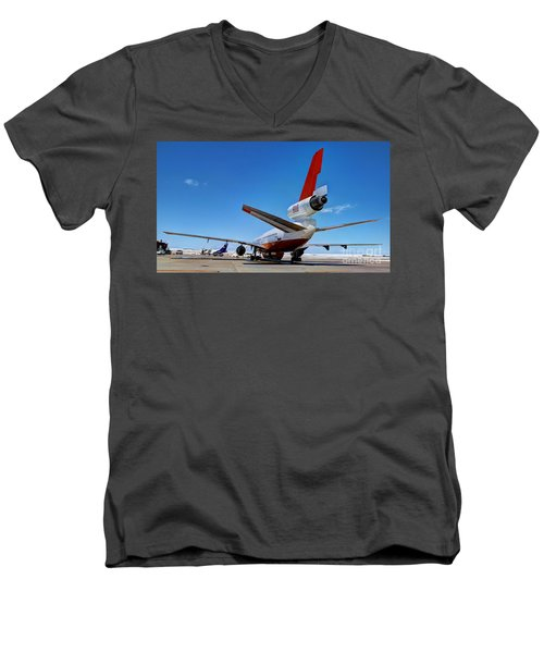 Men's V-Neck T-Shirt featuring the photograph Dc-10 Air Tanker  by Bill Gabbert