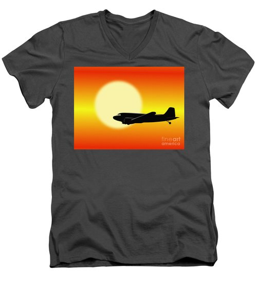 Dc-3 Passing Sun Men's V-Neck T-Shirt