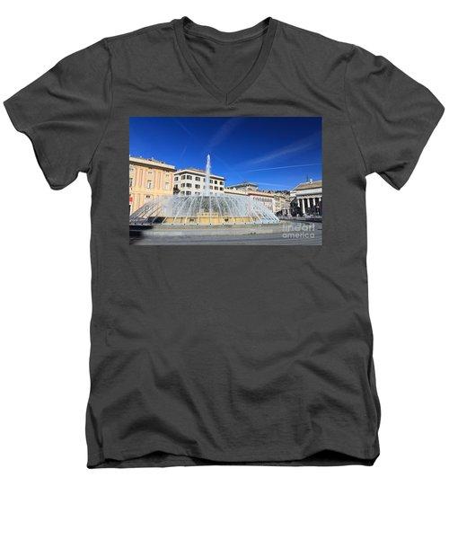 De Ferrari Square - Genova Men's V-Neck T-Shirt by Antonio Scarpi