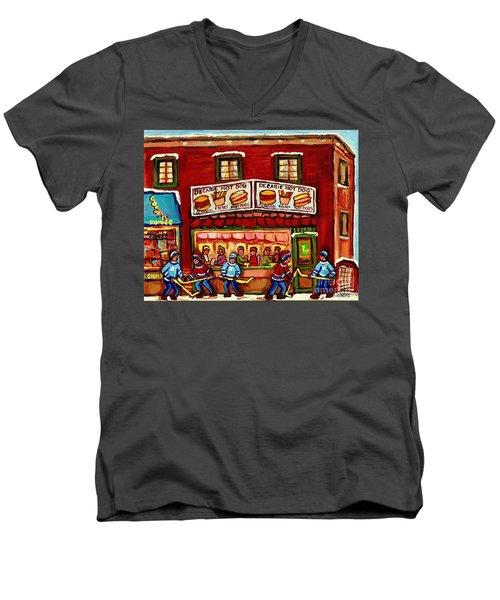 Decarie Hot Dog Restaurant Cosmix Comic Store Montreal Paintings Hockey Art Winter Scenes C Spandau Men's V-Neck T-Shirt