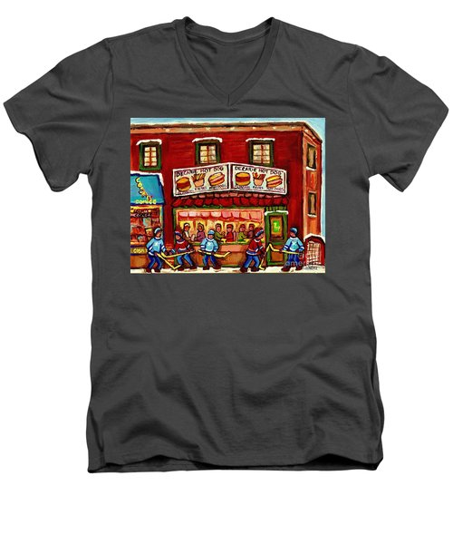 Decarie Hot Dog Restaurant Cosmix Comic Store Montreal Paintings Hockey Art Winter Scenes C Spandau Men's V-Neck T-Shirt