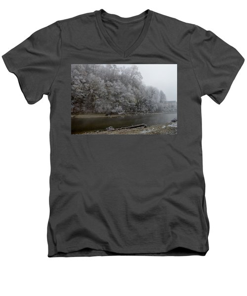 Men's V-Neck T-Shirt featuring the photograph December Morning On The River by Felicia Tica