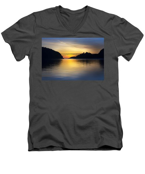 Deception Pass Bridge Men's V-Neck T-Shirt by Sonya Lang