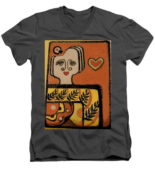 Men's V-Neck T-Shirt featuring the painting Deco Queen Of Hearts by Carol Jacobs