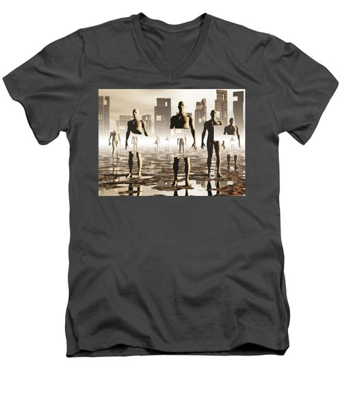 Men's V-Neck T-Shirt featuring the digital art Deconstruction by John Alexander