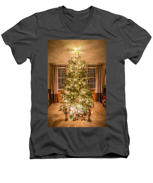 Men's V-Neck T-Shirt featuring the photograph Decorated Christmas Tree by Alex Grichenko