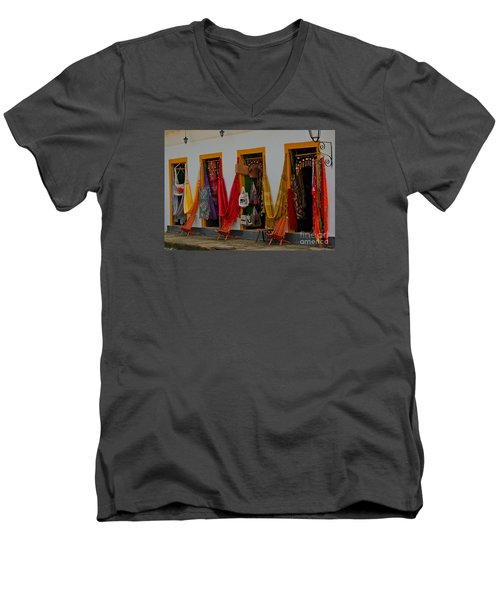Men's V-Neck T-Shirt featuring the photograph Decorated Doorways by Nareeta Martin