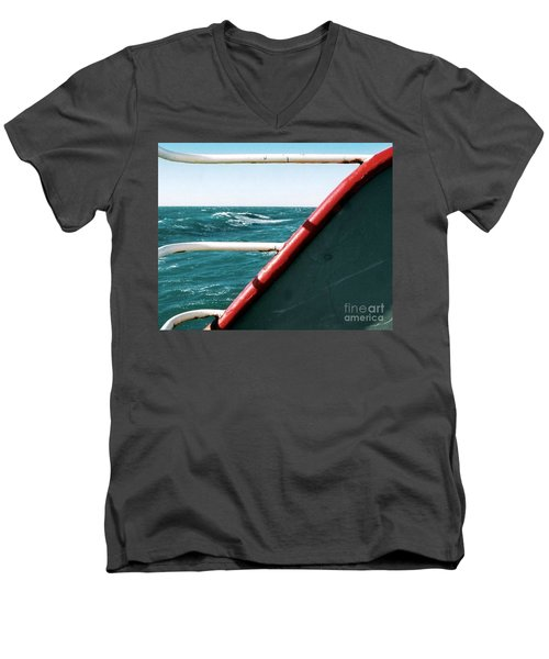 Men's V-Neck T-Shirt featuring the photograph Deep Blue Sea Of The Gulf Of Mexico Off The Coast Of Louisiana Louisiana by Michael Hoard