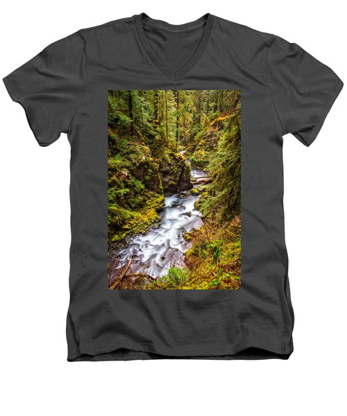 Deep In The Forest Men's V-Neck T-Shirt by Ken Stanback