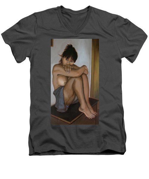 Deep In Thought Men's V-Neck T-Shirt by Thu Nguyen