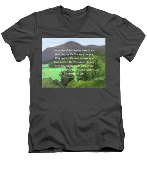 Deep Peace With Ct River Valley Men's V-Neck T-Shirt