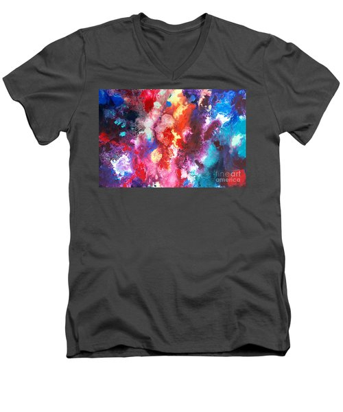 Deep Water Coral Men's V-Neck T-Shirt by Sally Trace