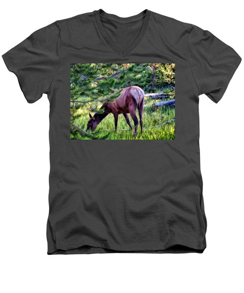 Men's V-Neck T-Shirt featuring the photograph Deer 7 by Dawn Eshelman