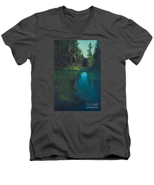 Deer Crossing Men's V-Neck T-Shirt by Rob Corsetti