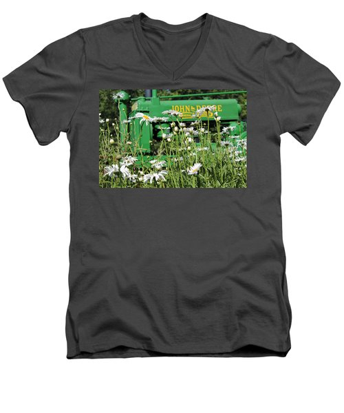 Men's V-Neck T-Shirt featuring the photograph Deere 1 by Lynn Sprowl