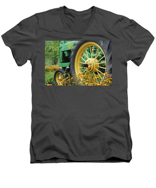 Men's V-Neck T-Shirt featuring the photograph Deere 2 by Lynn Sprowl