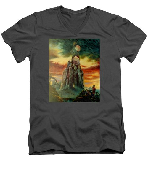 Men's V-Neck T-Shirt featuring the painting Defenders Of Rocky Desert by Henryk Gorecki