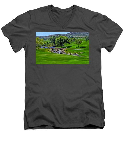 Del Mar Country Club Men's V-Neck T-Shirt by Michael Pickett