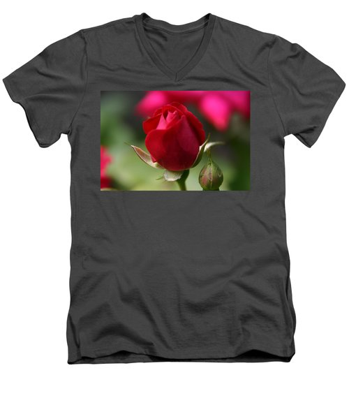 Men's V-Neck T-Shirt featuring the photograph Delicate Opening  by Denyse Duhaime