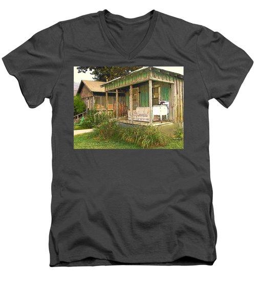 Delta Sharecropper Cabin - All The Conveniences Men's V-Neck T-Shirt by Rebecca Korpita