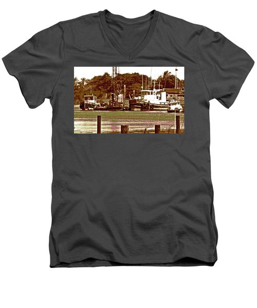 Delta Tug Boats At Work Men's V-Neck T-Shirt