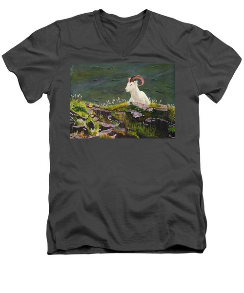 Denali Dall Sheep Men's V-Neck T-Shirt by Mike Robles