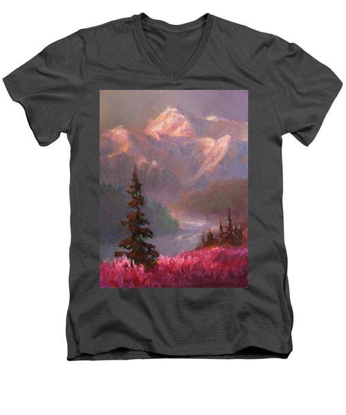 Denali Summer - Alaskan Mountains In Summer Men's V-Neck T-Shirt by Karen Whitworth