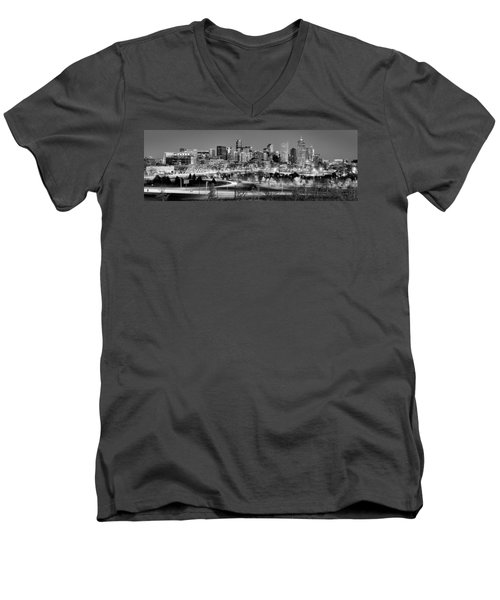Men's V-Neck T-Shirt featuring the photograph Denver Skyline At Dusk Evening Bw Black And White Evening Panorama Broncos Colorado  by Jon Holiday